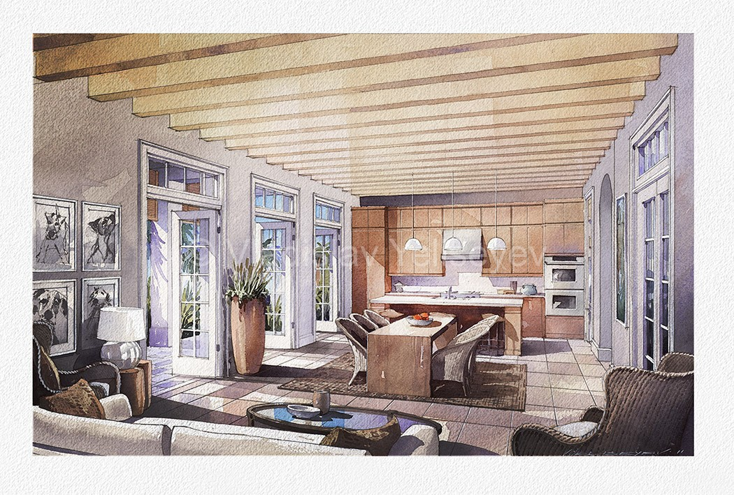 Watercolor Interior Visualization By Vladislav Yeliseyev