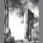 Canary Wharf London KPF 150x150 Graphite Pencil Renderings
