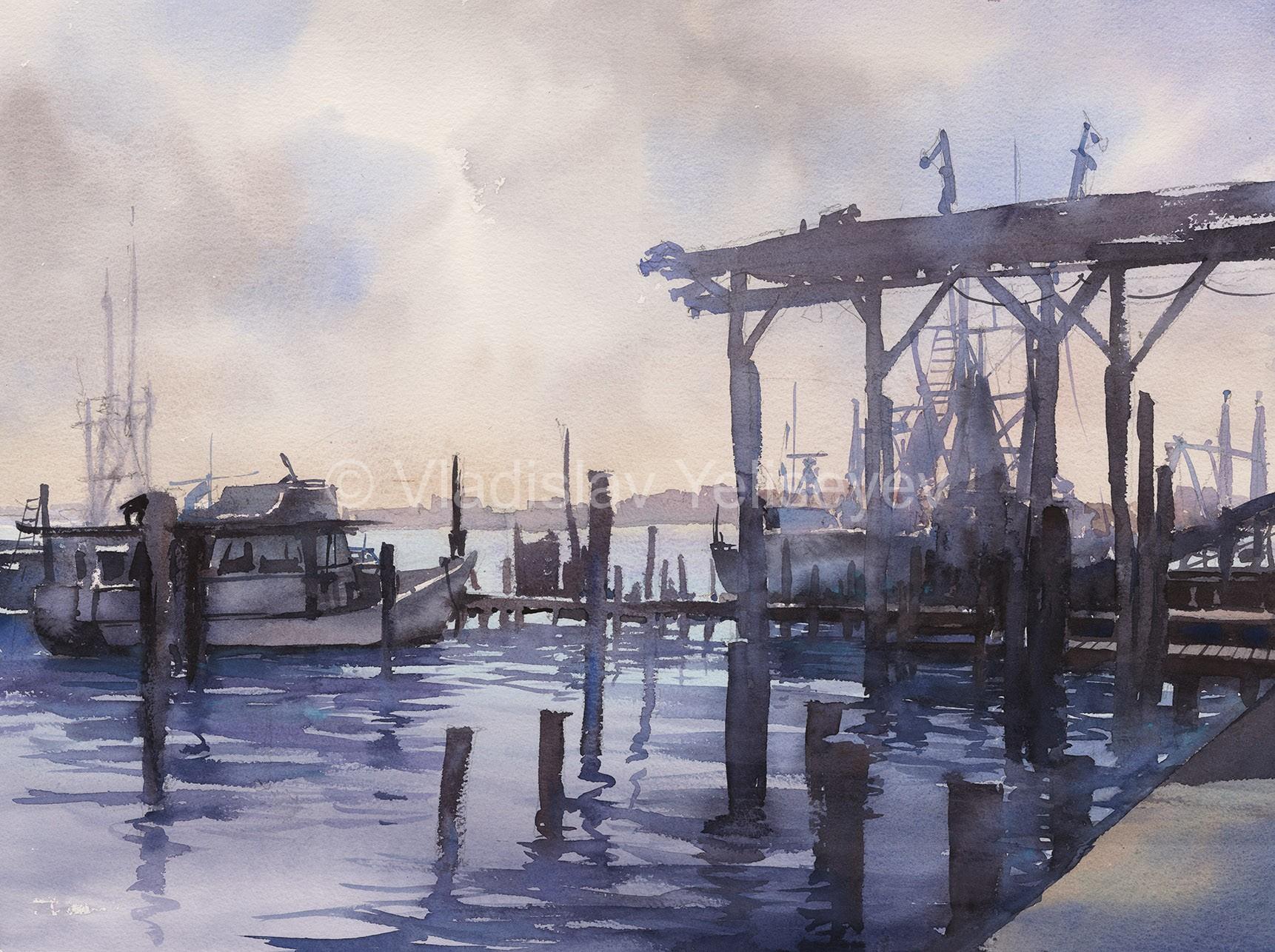 urban paintings watercolor artworks by artist vladislav yeliseyev